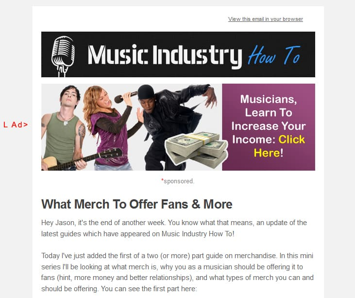 Advertise on Music Industry How To - Email blast