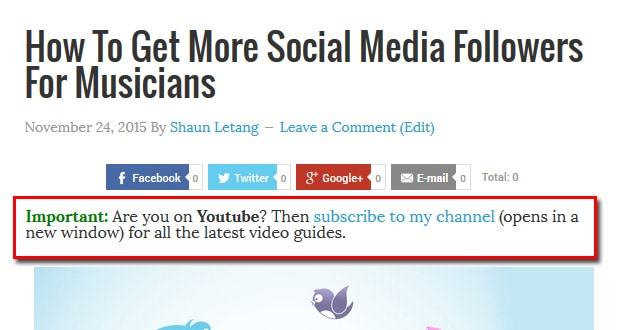 Add link to social profiles in post body